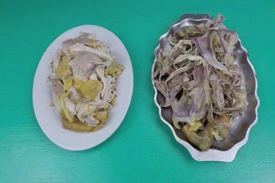 Cách xé gà thịt ra thịt, xương ra xương