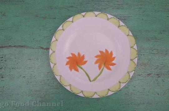 Trang trí viền đĩa (32) - Đóa hoa đôi